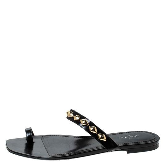 Louis Vuitton Leather Chain Embellished Black Flats Image 1