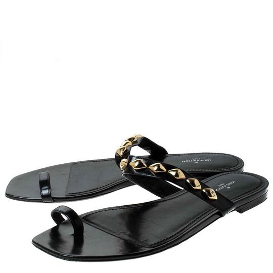 Louis Vuitton Leather Chain Embellished Black Flats Image 3