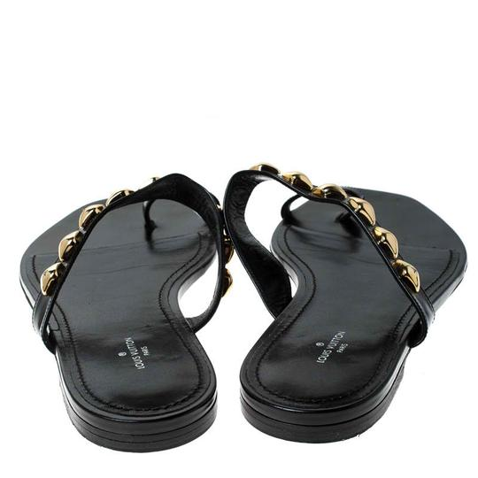 Louis Vuitton Leather Chain Embellished Black Flats Image 4