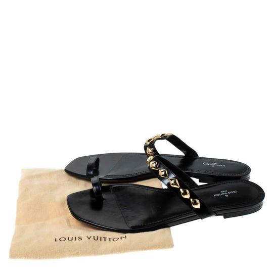 Louis Vuitton Leather Chain Embellished Black Flats Image 7