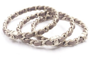 Chanel Chanel Gold Turnlock CC Chain Mauve Leather 3 Bangles