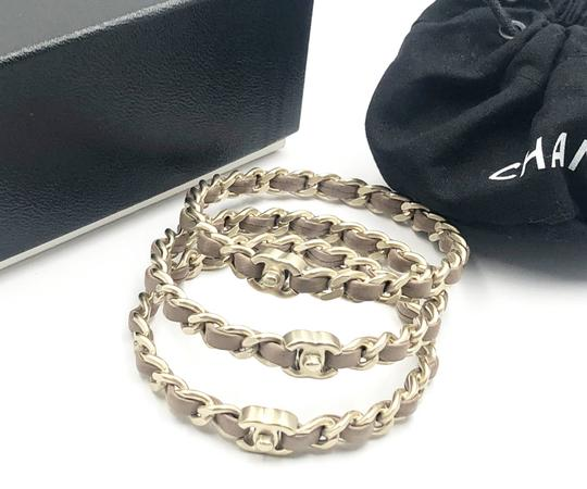 Chanel Chanel Gold Turnlock CC Chain Mauve Leather 3 Bangles Image 1