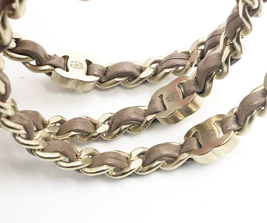 Chanel Chanel Gold Turnlock CC Chain Mauve Leather 3 Bangles Image 2