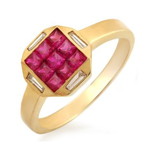 Non Branded 1.37 CT Ruby & 0.15 CT Diamonds 18K Yellow Gold Band Ring Size 6-8