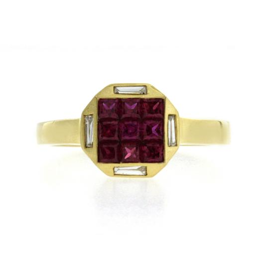 Non Branded 1.37 CT Ruby & 0.15 CT Diamonds 18K Yellow Gold Band Ring Size 6-8 Image 1