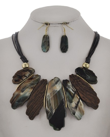 UNBRANDED Teal Color Mix Cellulose Acetate Necklace & Earring Image 1