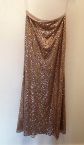 Dessy Cinnamon Gold Sequined S1509 Modest Bridesmaid/Mob Dress Size 8 (M)