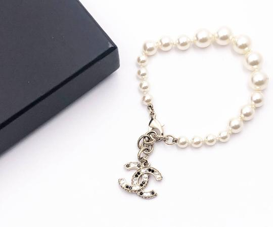 Chanel Chanel Gold Block CC Crystal Faux Pearl Bracelet Image 1
