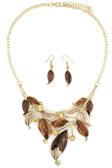 Ocean Fashion Fashion yellow leaves necklace earrings set Image 1