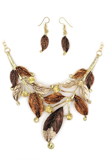 Ocean Fashion Fashion yellow leaves necklace earrings set Image 2