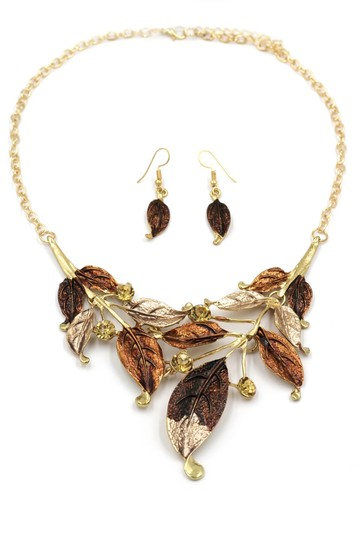 Ocean Fashion Fashion yellow leaves necklace earrings set Image 3