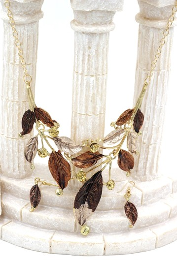 Ocean Fashion Fashion yellow leaves necklace earrings set Image 5