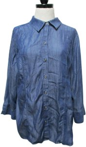 Chico's Chambray Smocket Chambrayblouse Button Down Shirt blue