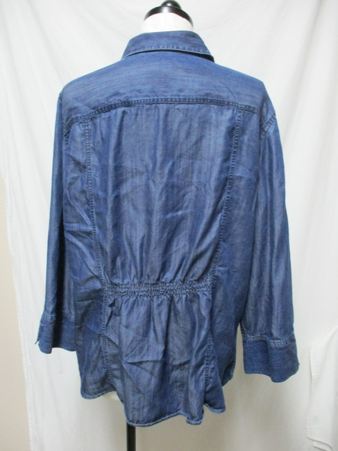 Chico's Chambray Smocket Chambrayblouse Button Down Shirt blue Image 1