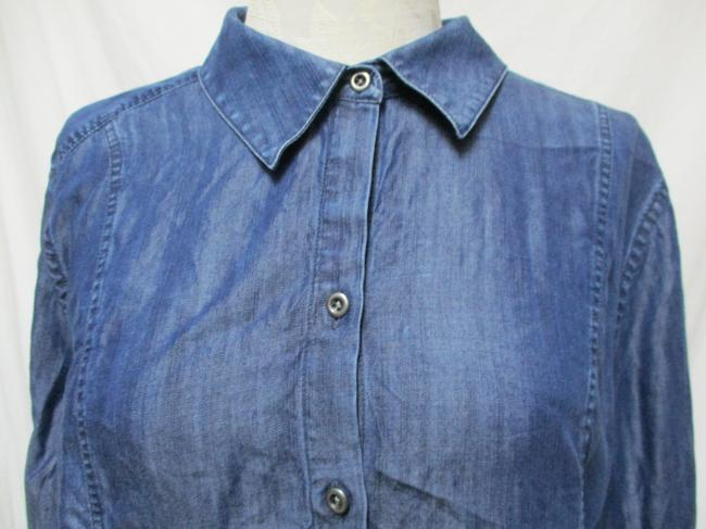 Chico's Chambray Smocket Chambrayblouse Button Down Shirt blue Image 3