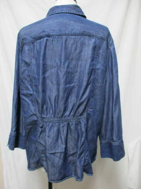 Chico's Chambray Smocket Chambrayblouse Button Down Shirt blue Image 4
