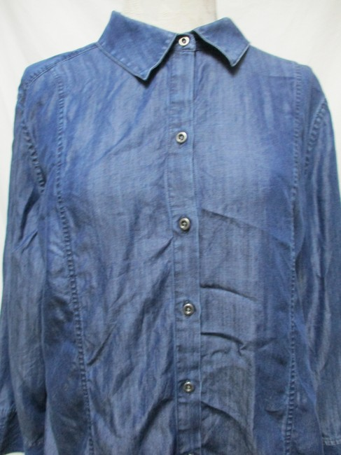 Chico's Chambray Smocket Chambrayblouse Button Down Shirt blue Image 5