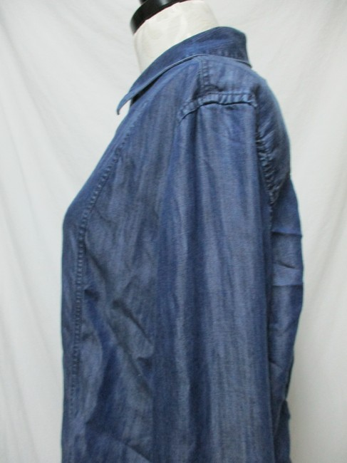 Chico's Chambray Smocket Chambrayblouse Button Down Shirt blue Image 6
