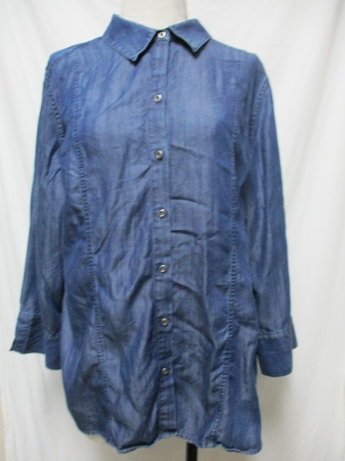 Chico's Chambray Smocket Chambrayblouse Button Down Shirt blue Image 7