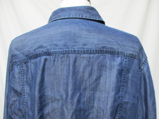 Chico's Chambray Smocket Chambrayblouse Button Down Shirt blue Image 8