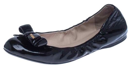 Prada Patent Leather Leather Rubber Ballet Black Flats Image 0