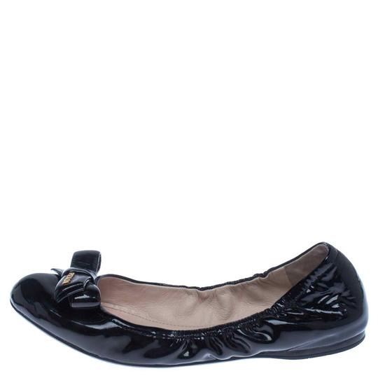 Prada Patent Leather Leather Rubber Ballet Black Flats Image 1