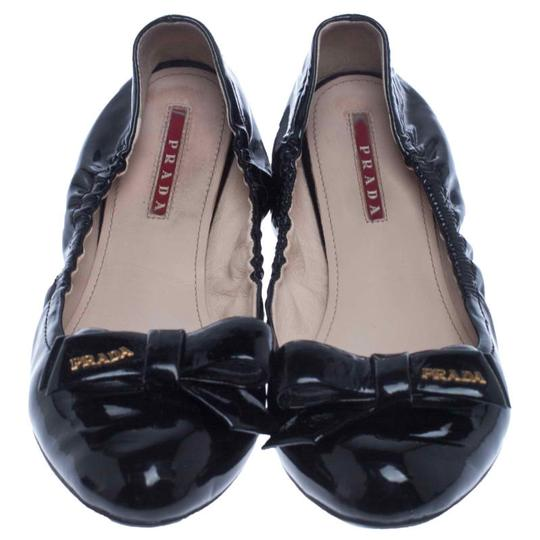 Prada Patent Leather Leather Rubber Ballet Black Flats Image 2