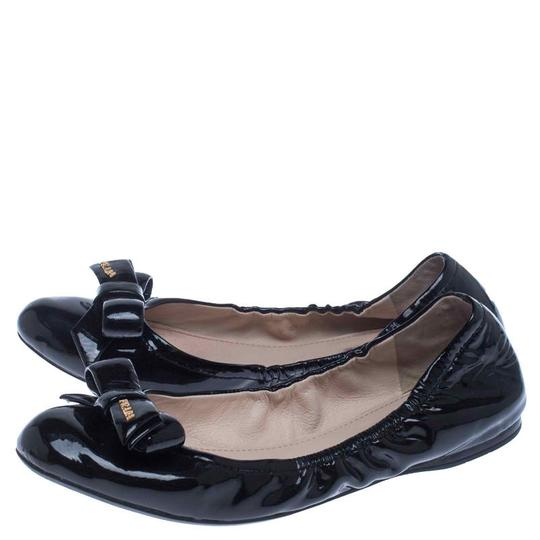 Prada Patent Leather Leather Rubber Ballet Black Flats Image 3