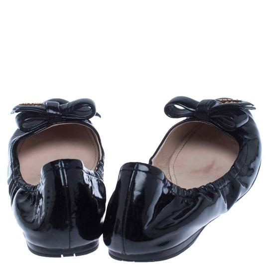 Prada Patent Leather Leather Rubber Ballet Black Flats Image 4