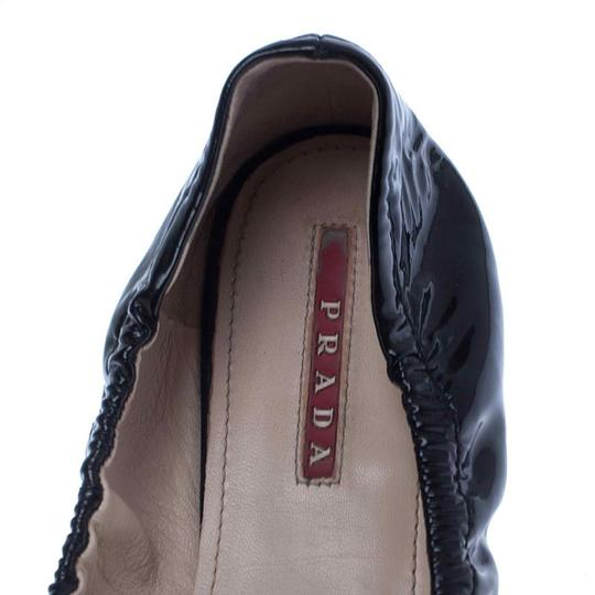 Prada Patent Leather Leather Rubber Ballet Black Flats Image 6