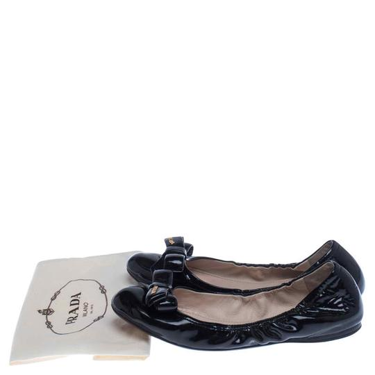 Prada Patent Leather Leather Rubber Ballet Black Flats Image 7