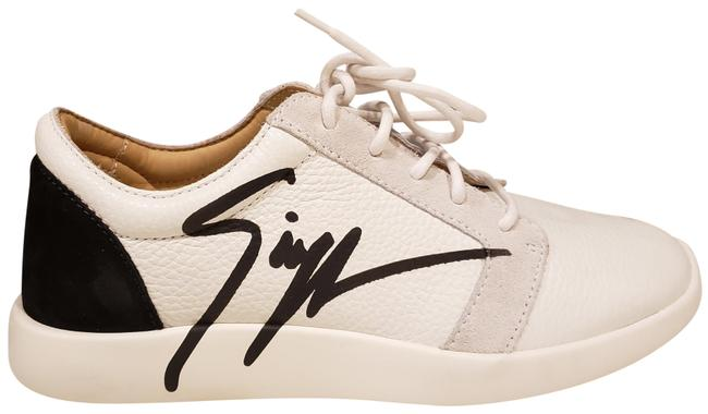 Item - White/Black Signature Logo Lace Up Leather Sneakers Size EU 38 (Approx. US 8) Regular (M, B)