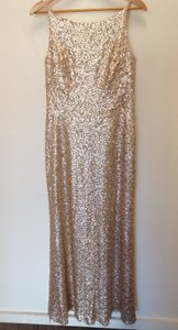Dessy Gold Sequined 2993 Sexy Bridesmaid/Mob Dress Size 10 (M)