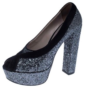 Miu Miu Suede Glitter Peep Toe Leather Black Pumps