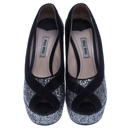 Miu Miu Suede Glitter Peep Toe Leather Black Pumps Image 2