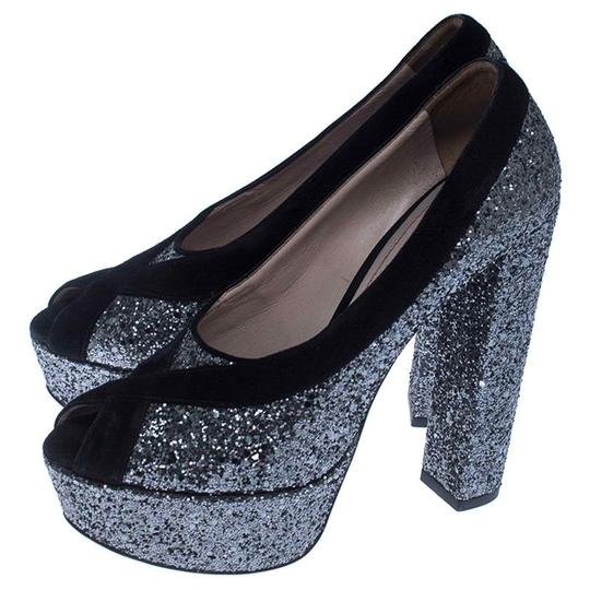 Miu Miu Suede Glitter Peep Toe Leather Black Pumps Image 3