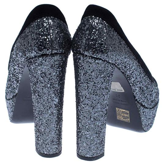 Miu Miu Suede Glitter Peep Toe Leather Black Pumps Image 5