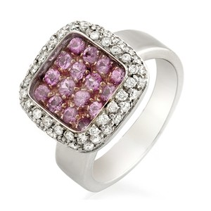 Non Branded Fancy 0.90 CT Pink Sapphire & 0.84 CT Diamonds 18K Gold Band Ring
