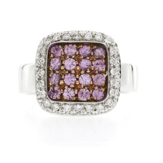 Non Branded Fancy 0.90 CT Pink Sapphire & 0.84 CT Diamonds 18K Gold Band Ring Image 1