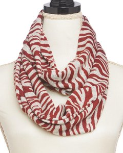 TRUE Red & Natural 100% Polyester Infinity Scarf