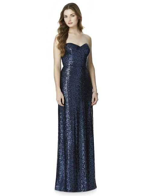 Item - Navy Sequined 4509 Formal Bridesmaid/Mob Dress Size 10 (M)