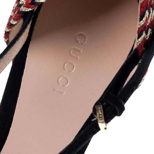 Gucci Suede Espadrille Wedge Ankle Strap Leather Black Sandals Image 6