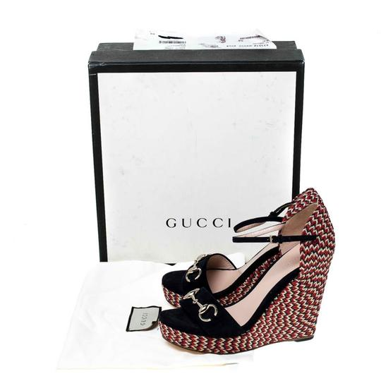 Gucci Suede Espadrille Wedge Ankle Strap Leather Black Sandals Image 7