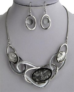 UNBRANDED Acrylic Silver Grey Necklace & Earring