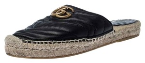 Gucci Espadrille Leather Rubber Quilted Logo Black Flats