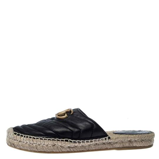 Gucci Espadrille Leather Rubber Quilted Logo Black Flats Image 1