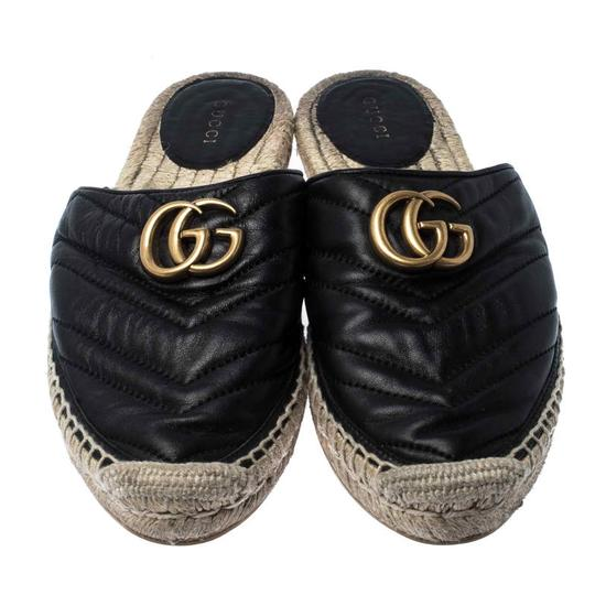 Gucci Espadrille Leather Rubber Quilted Logo Black Flats Image 2