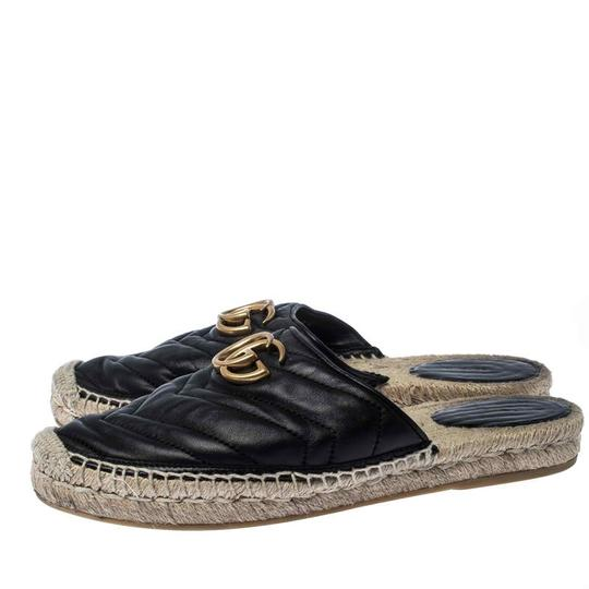 Gucci Espadrille Leather Rubber Quilted Logo Black Flats Image 3