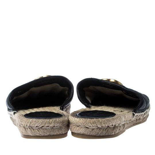 Gucci Espadrille Leather Rubber Quilted Logo Black Flats Image 4
