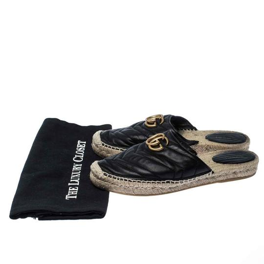 Gucci Espadrille Leather Rubber Quilted Logo Black Flats Image 7